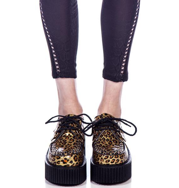 Demonia Cheetah Glitter Creepers