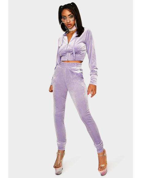 Lavender Obsessed With Me Velour Tracksuit