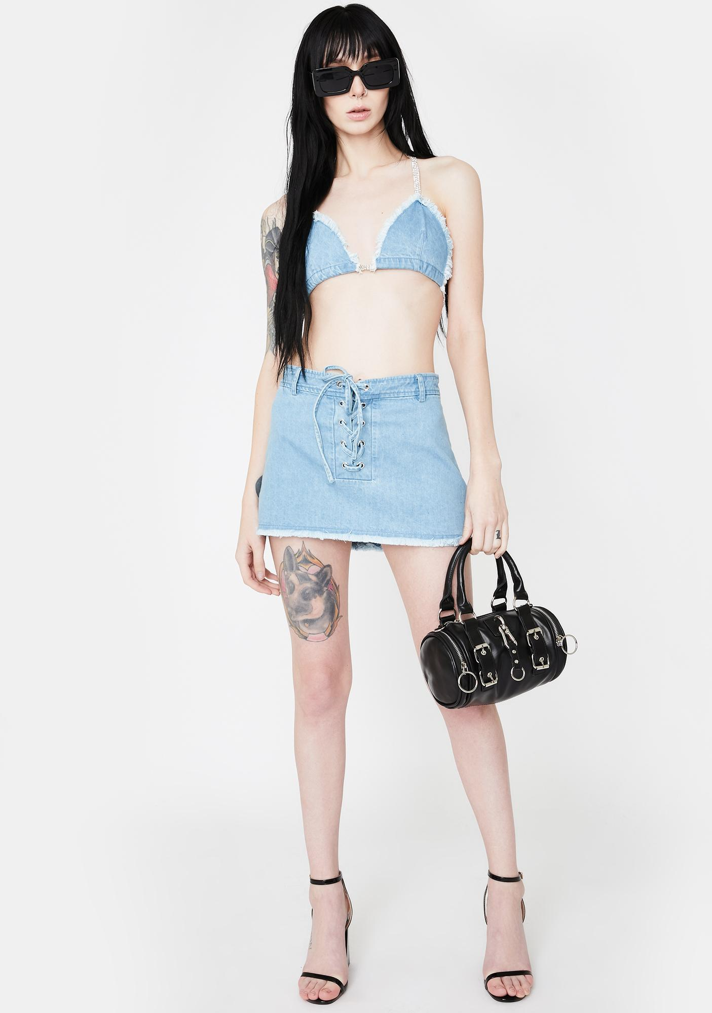 Hidden Cult Katana Denim Mini Skirt
