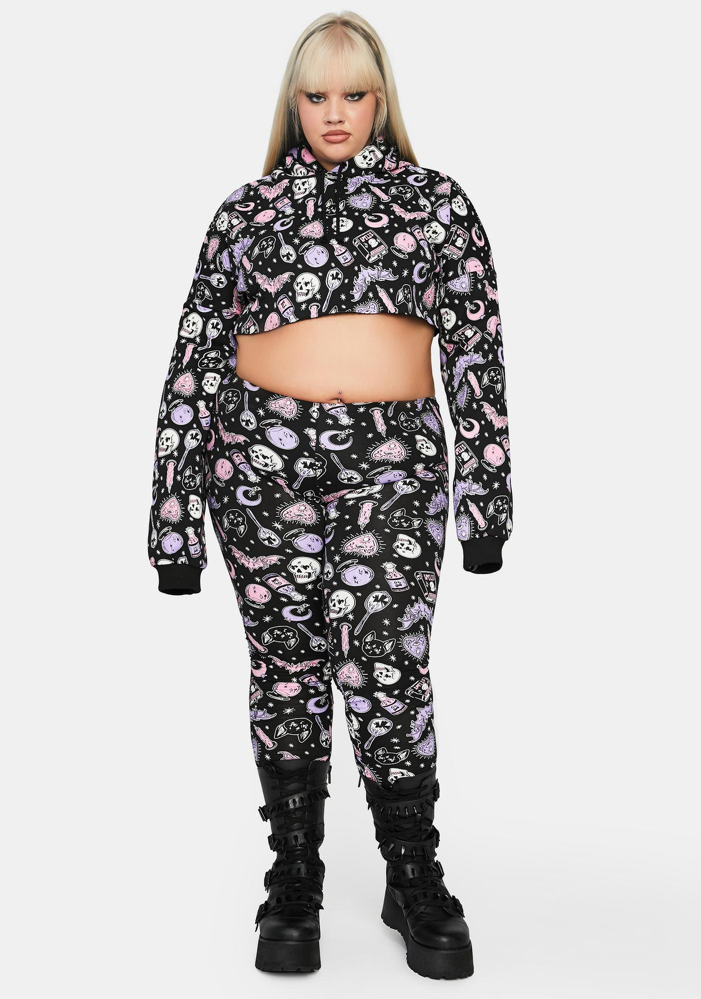 Dolls Kill Totally Twisted Magic Cropped Hoodie