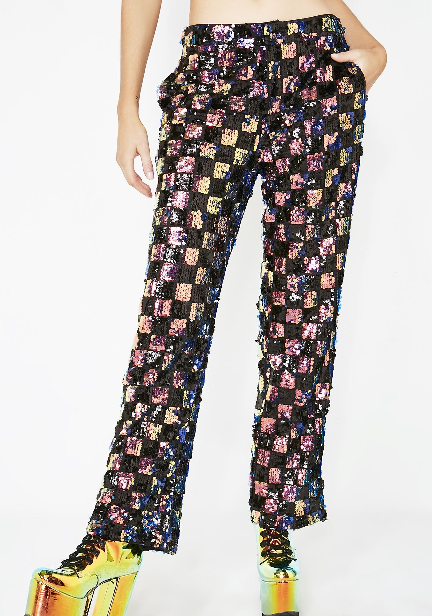 0c86537752 Purple Rainbow Checkered Sequin Trousers | Dolls Kill