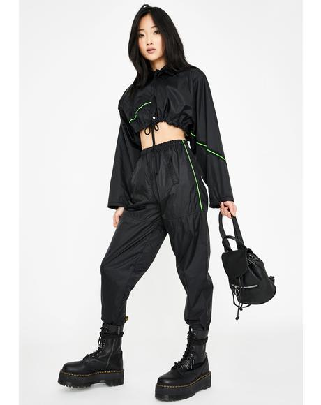 Neon Stripe Windbreaker Pants