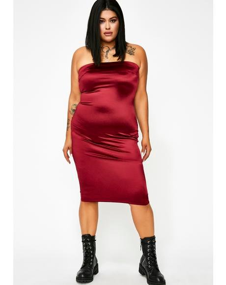 Wine Stunna Girl Satin Dress