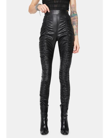 Rockstar Secret Faux Leather Ruched Pants