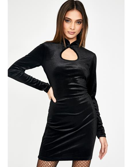 Black Velvet Keyhole Mini Dress