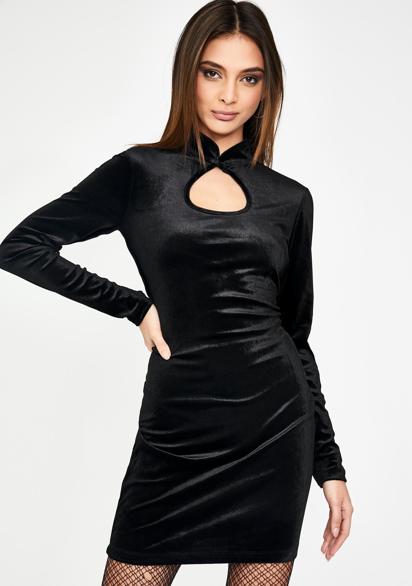 Glamorous Black Velvet Keyhole Mini Dress
