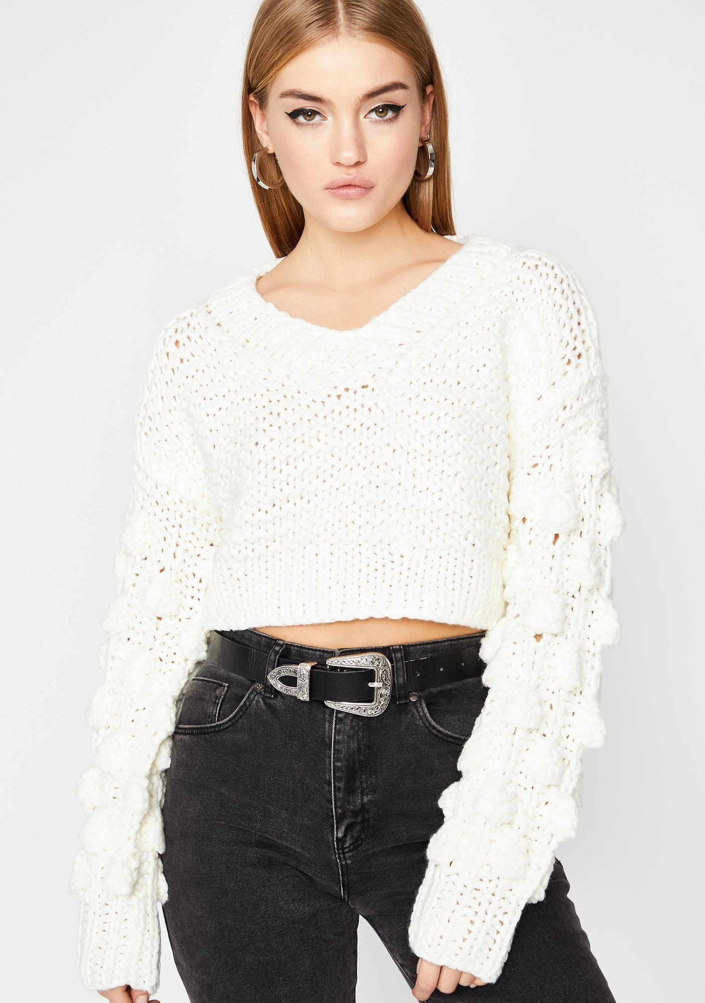 Icy Power Puff Crop Sweater
