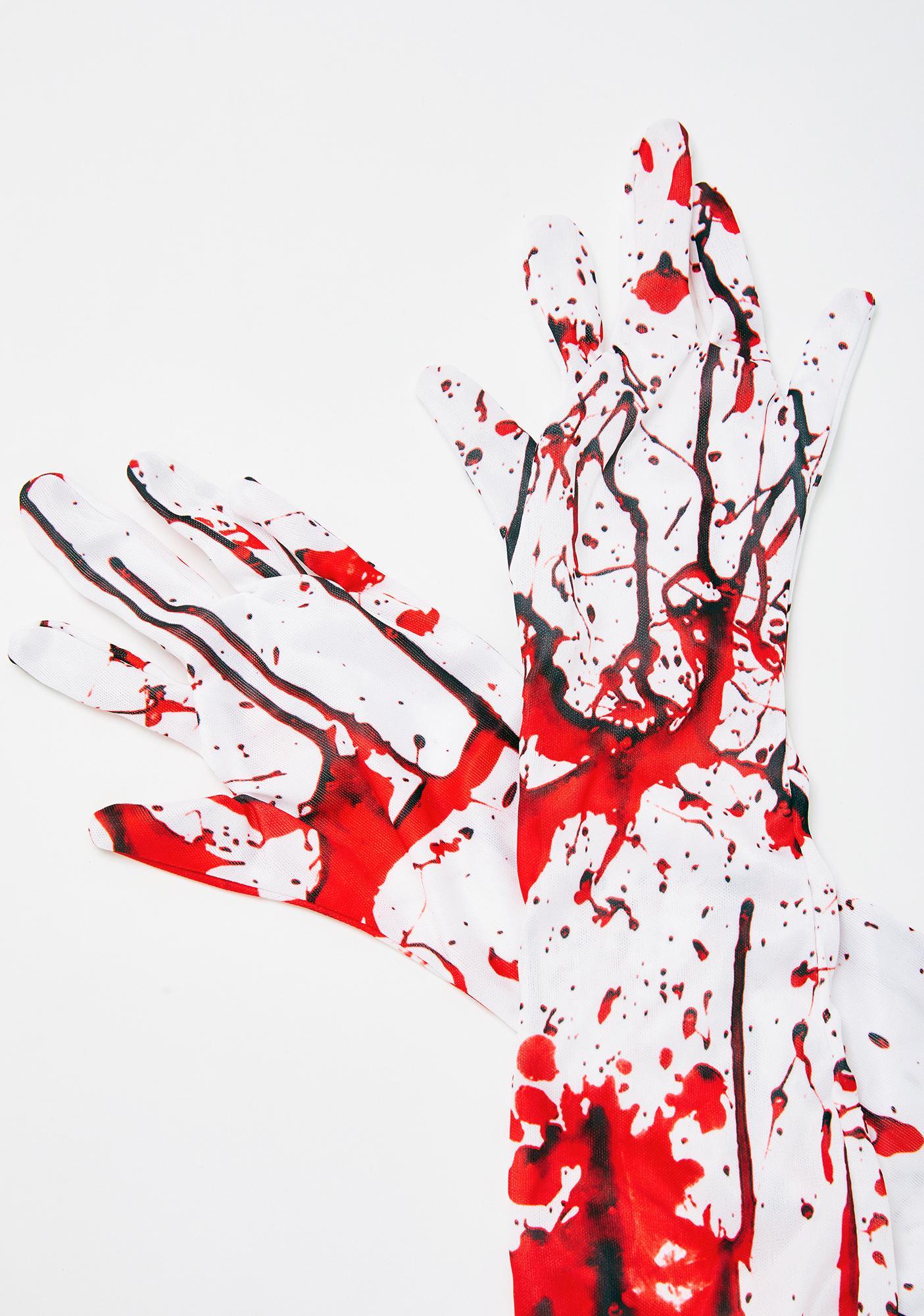 Deranged Dissection Blood Splatter Gloves