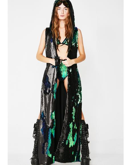 Dark Rainbow Elixir Flip Sequin Duster