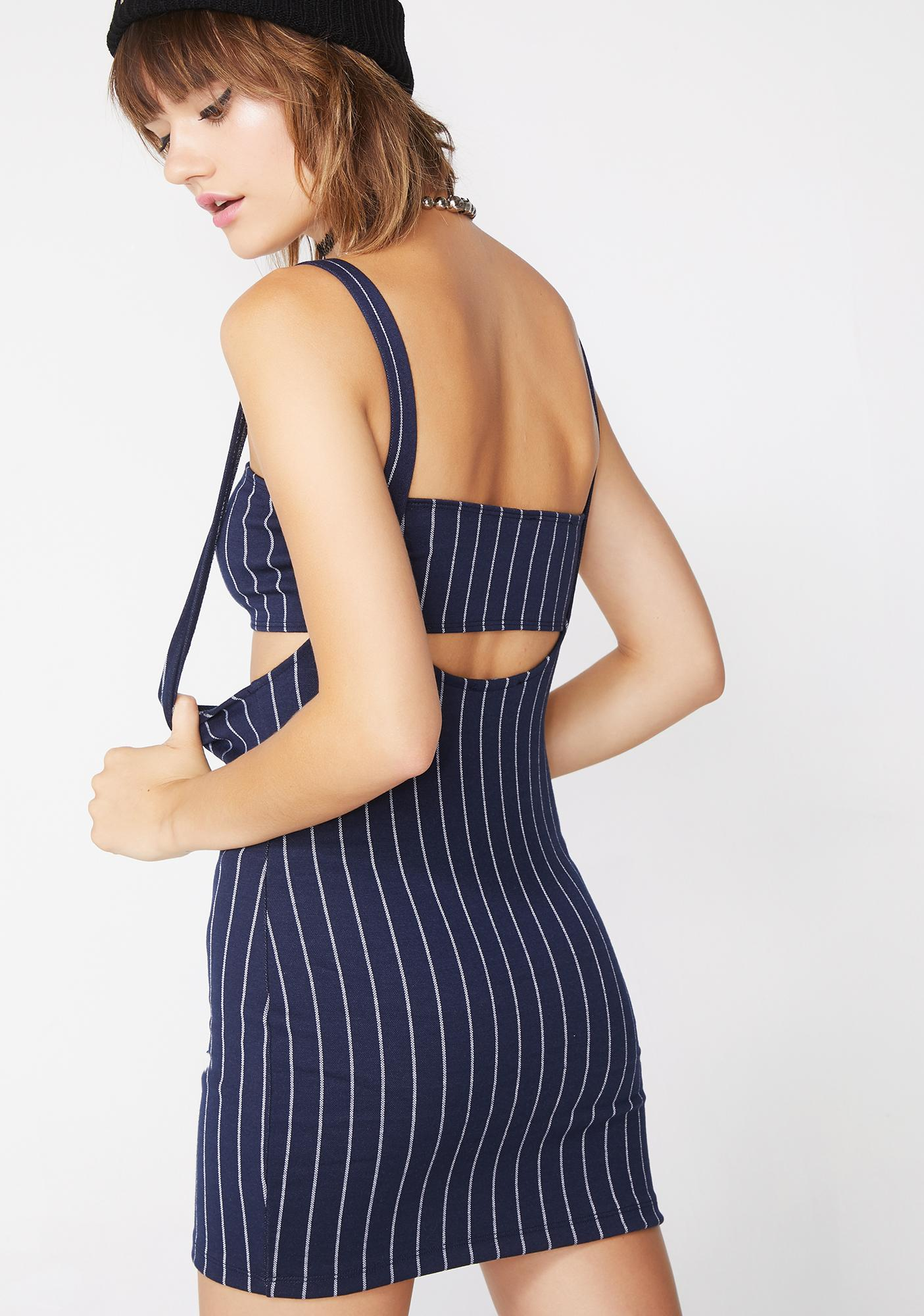 Motel Navy Pinstripe Petra Mini Dress