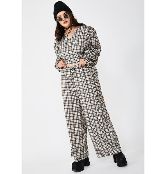 NEW GIRL ORDER Plus Traditional Check Wrap Blouse