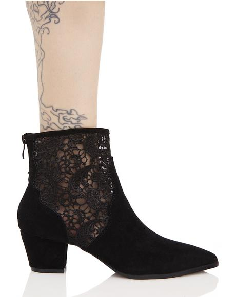 Mona Lace Detail Western Ankle Boots