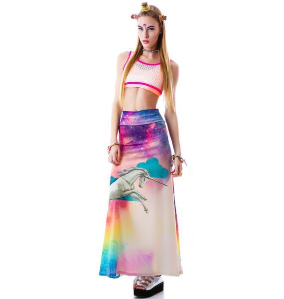 Too Fast Rainbow Unicorn Hella Maxi Skirt