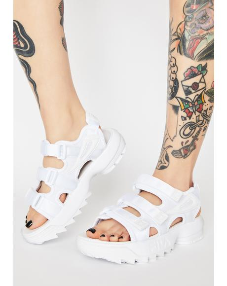 White Disruptor Platform Sandals
