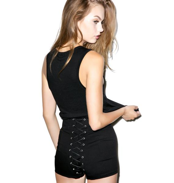 Tripp NYC Night Rider High Waisted Corset Shorts