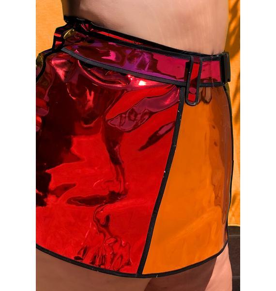 Club Exx Glam Rainbow Runner Mini Skirt