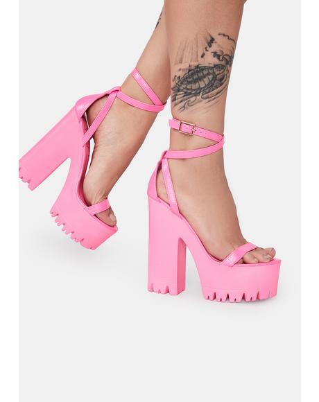 Pink Belush Platform Heels