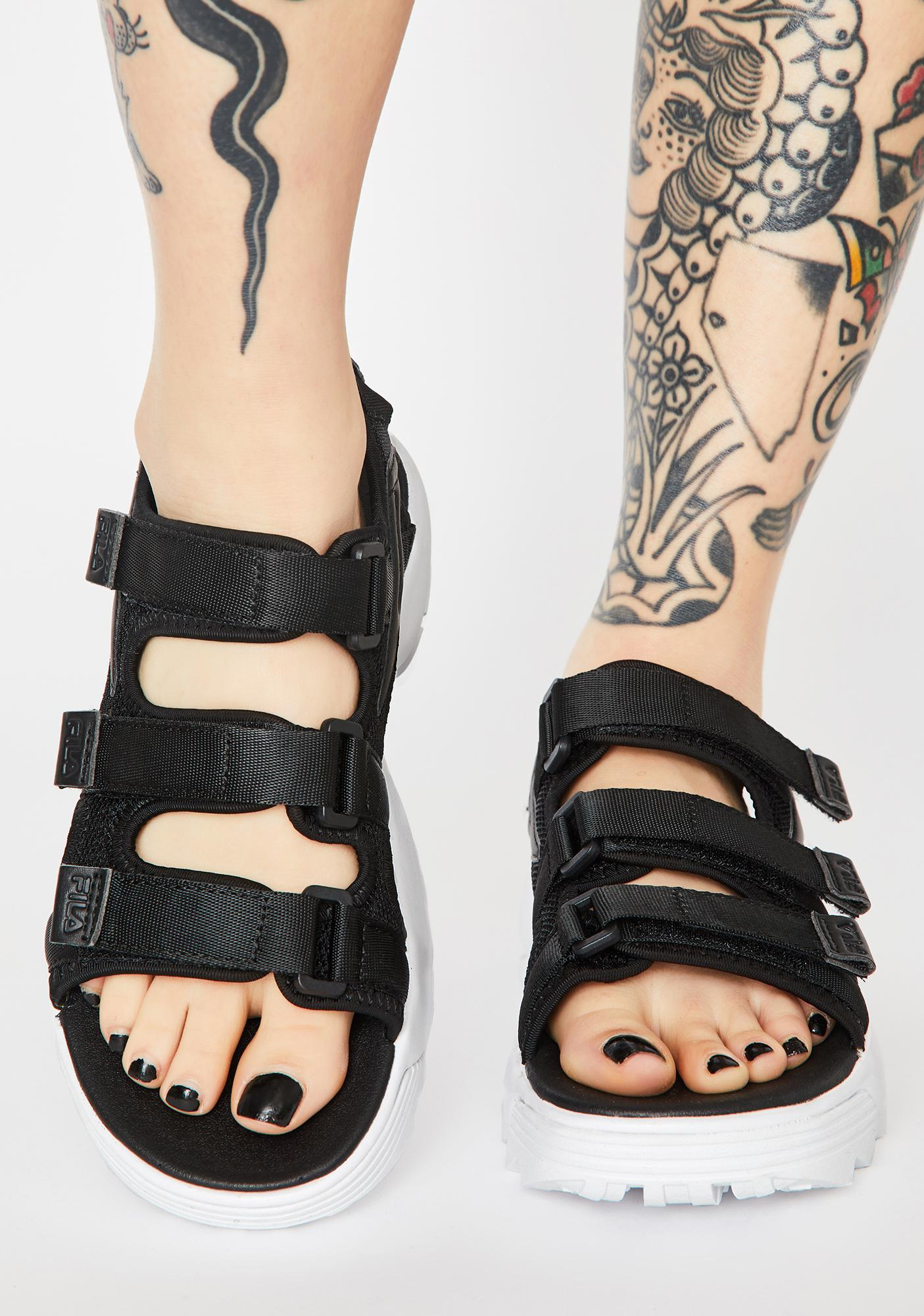 Fila Black Disruptor Platform Sandals