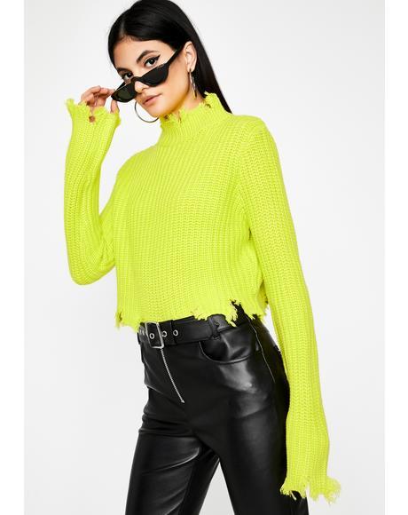 Neon Delicious Daredevil Distressed Sweater