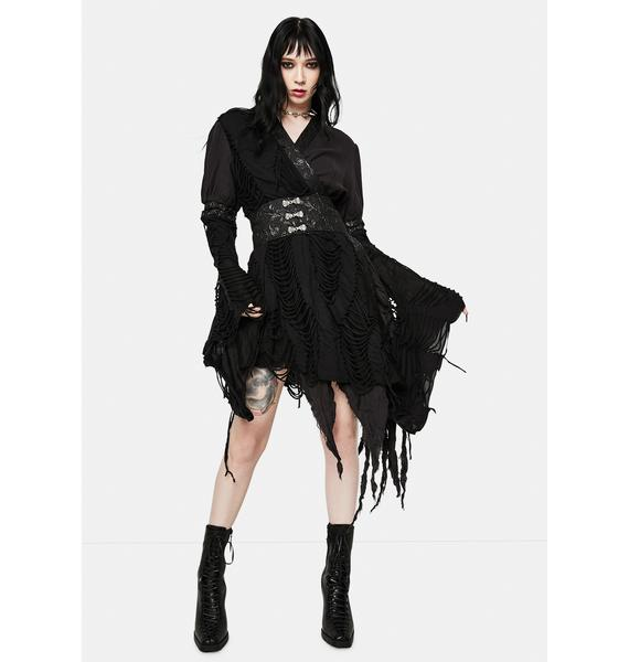 Devil Fashion Gothic Asymmetric Wrap Dress
