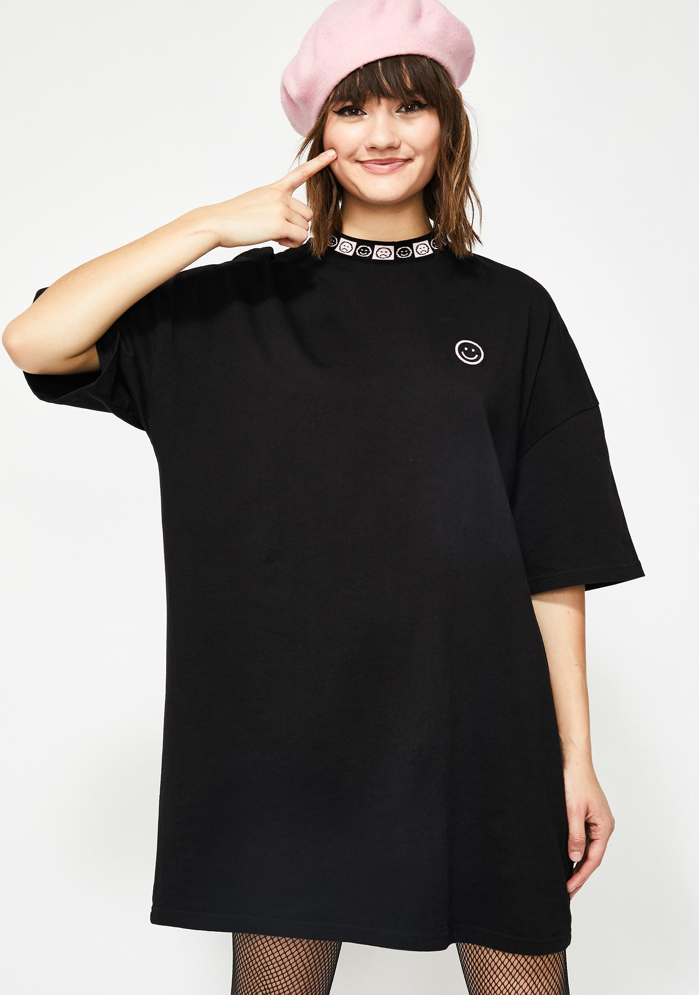 c38fbd625 Lazy Oaf Happy Sad Oversize T-Shirt Dress