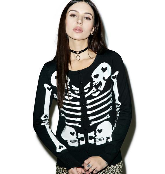 Too Fast Heart Bones Skeleton Cardigan