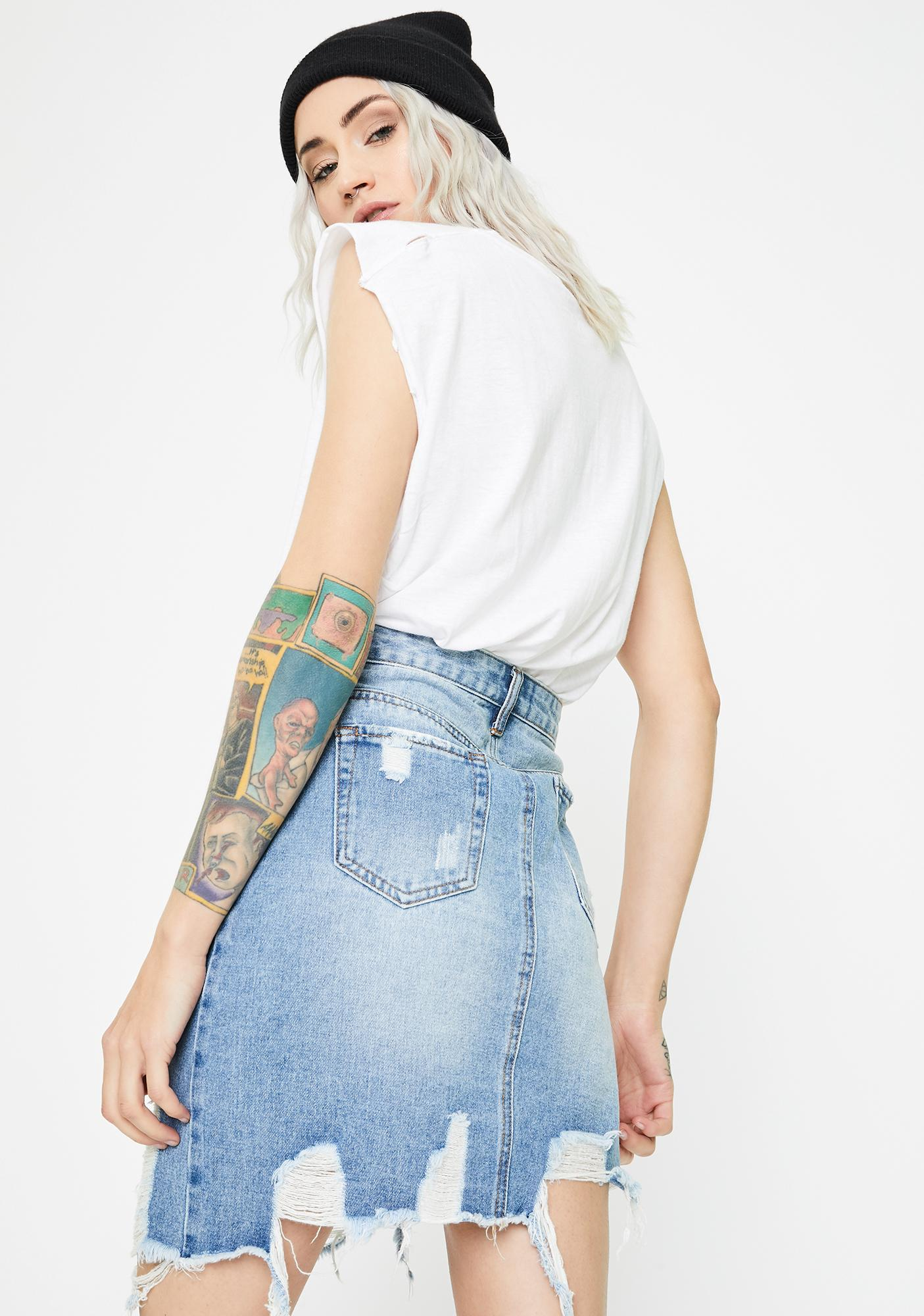 Momokrom Light Wash Asymmetric Denim Skirt