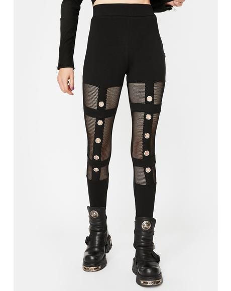 Grommet Cut-Out Mesh Leggings