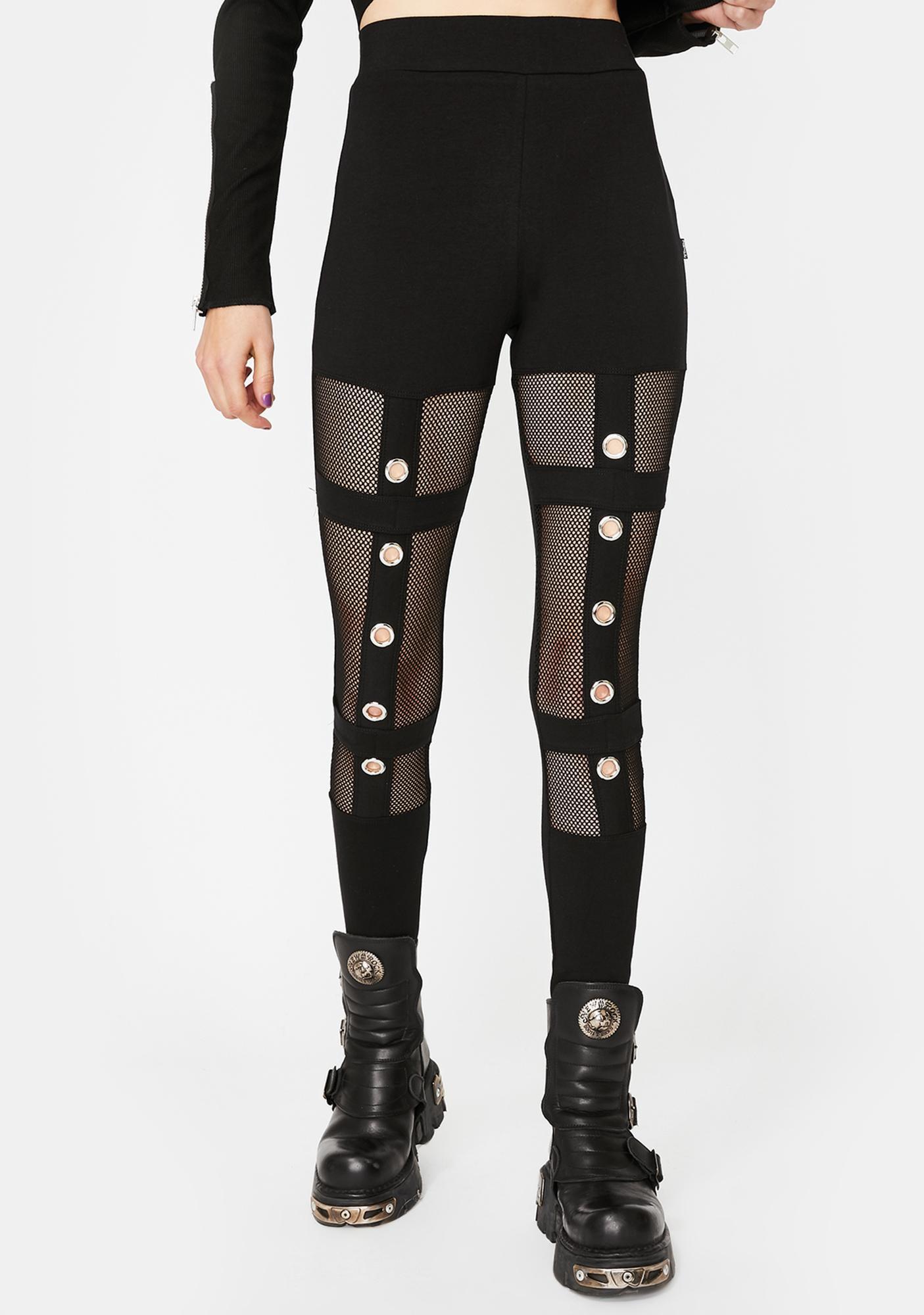 Tripp NYC Grommet Cut-Out Mesh Leggings