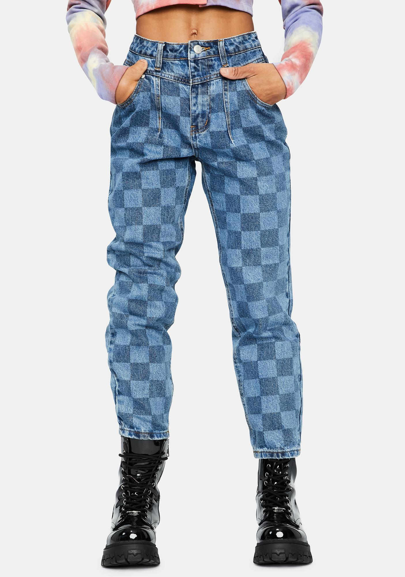 Always Winning Checkered Mom Jeans