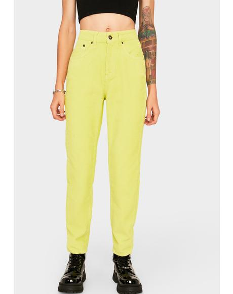 Lime Cord Mom Jeans