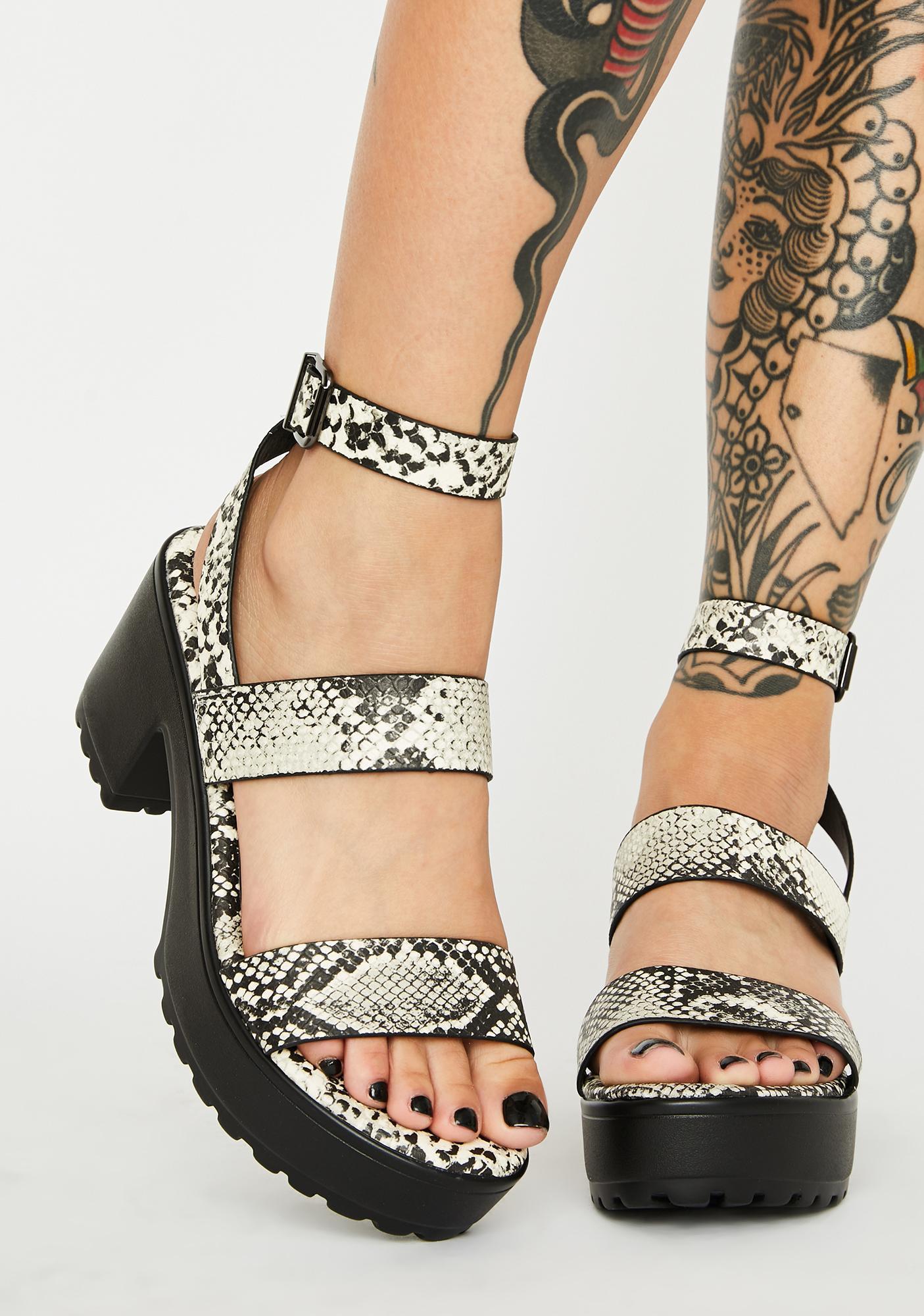 Hissy-Fit Snakeskin Platform Sandals