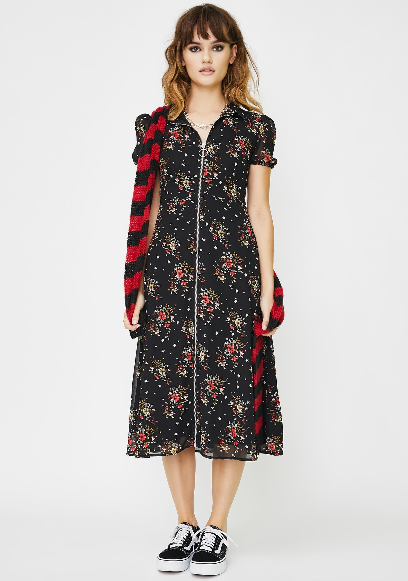 Daisy Street Front Zip Floral Midi Dress