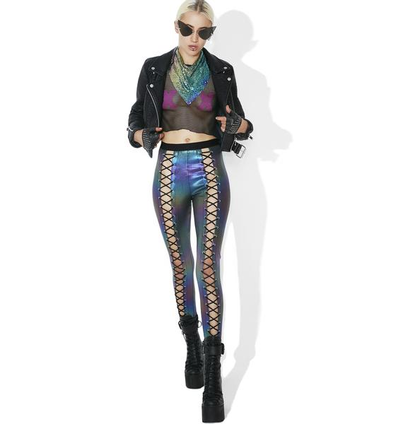 Club Exx Oil Slick Holographic Nancy Corset Leggings