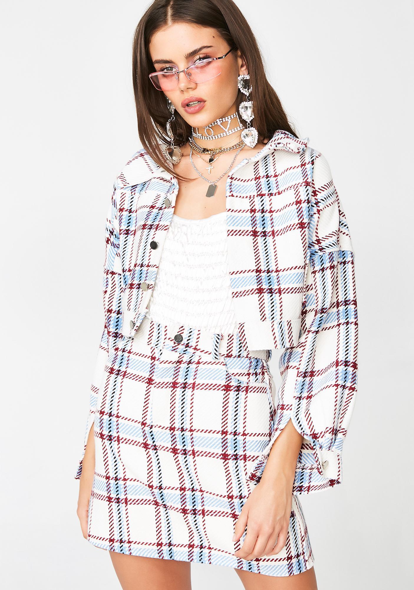 My Mum Made It Plaid Jacket N' Skirt Matching Set