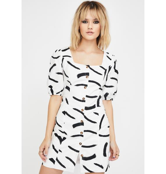 Glamorous Mono Brush Stroke Dress
