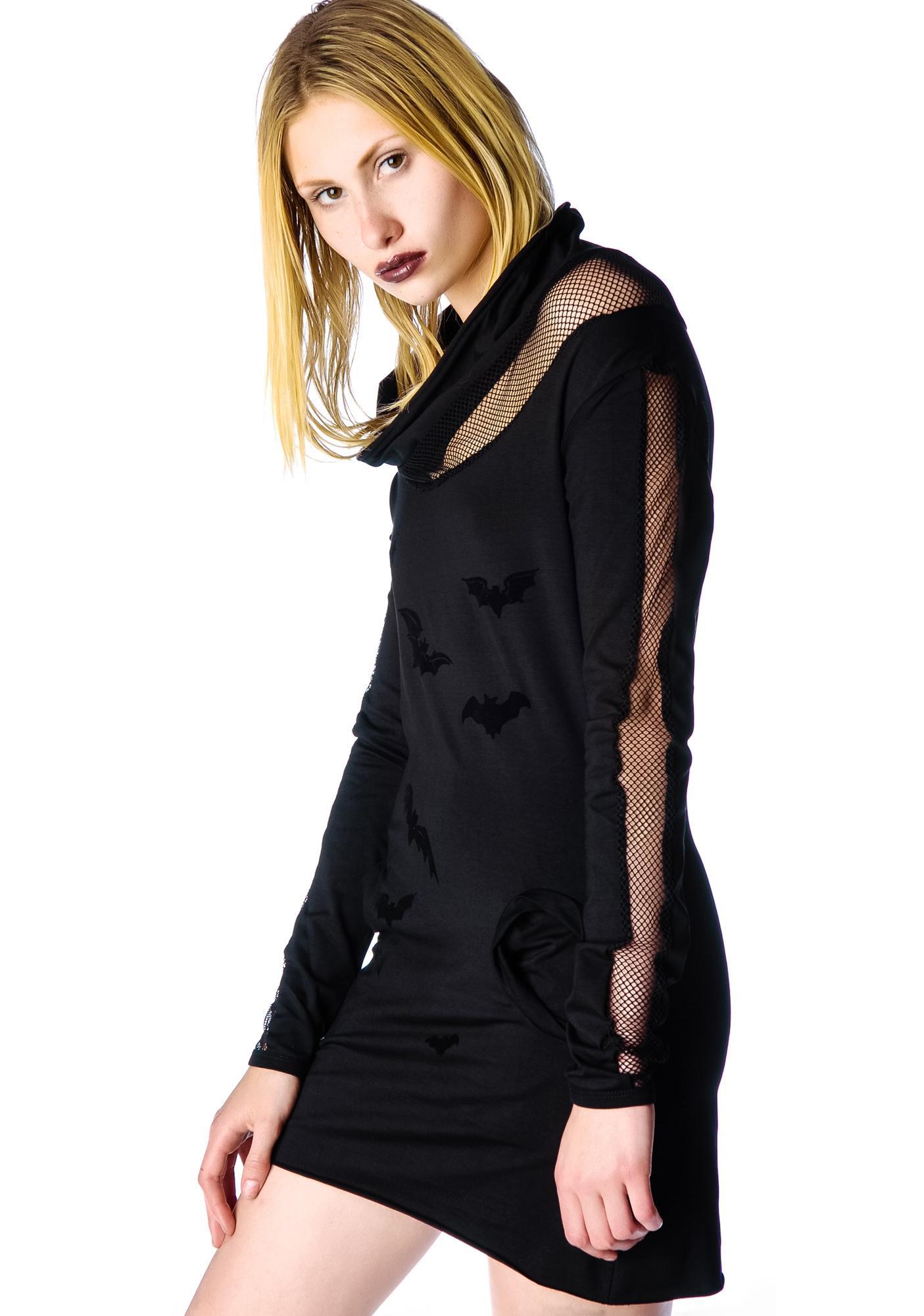 Pretty Poison Velvet Bat Dress