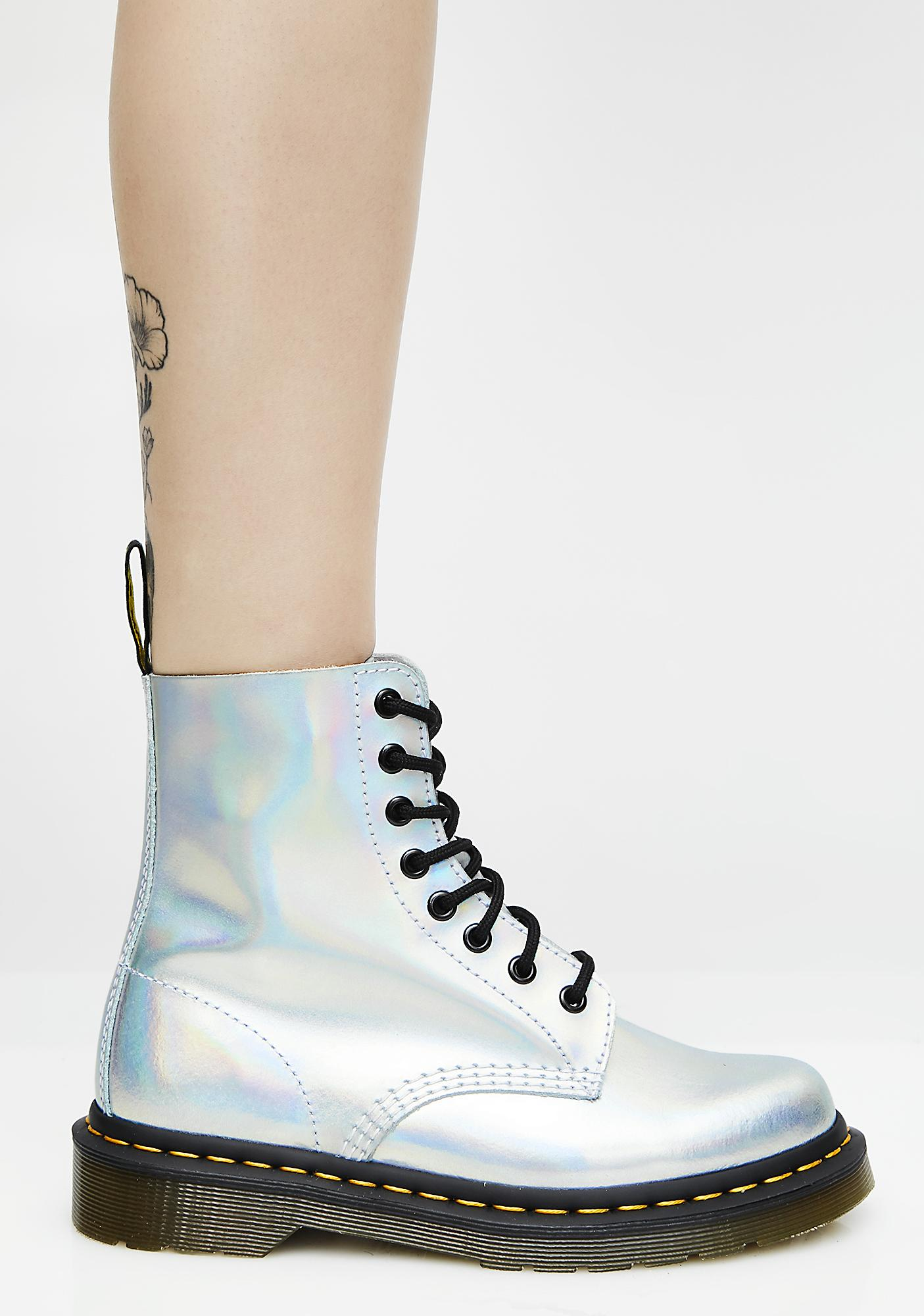 Dr. Martens Silver Iced Metallic Pascal Boots