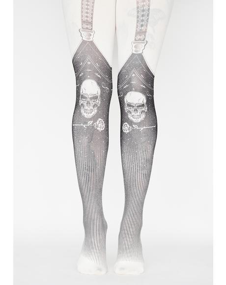 Exposed Bones Printed Tights
