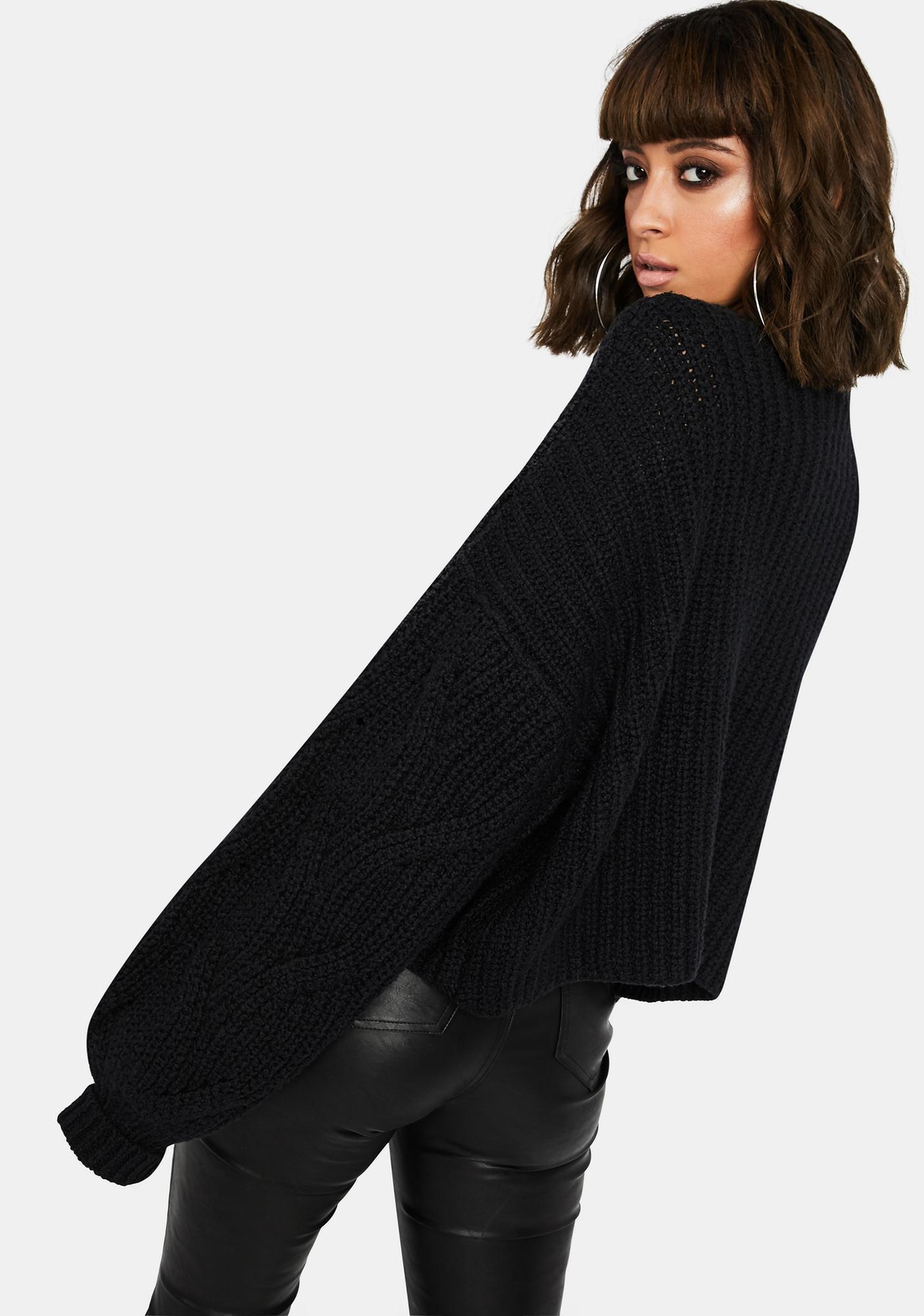 Free People Black Seasons Change Knit Sweater