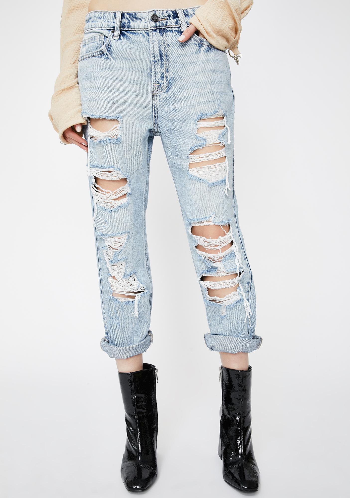 Hidden Denim Light Wash Bailey Distressed Boyfriend Jeans