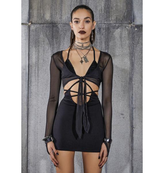 DARKER WAVS Snare Strappy Mini Dress And Mesh Shrug Set