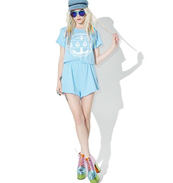 Wildfox Couture Yachting Emblem Cruise Romper