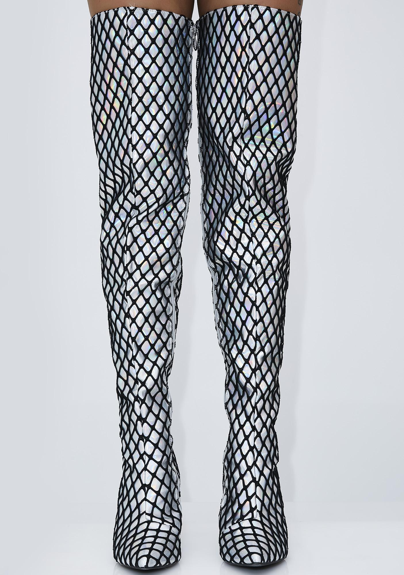 In My Trap Fishnet Thigh-High Boots