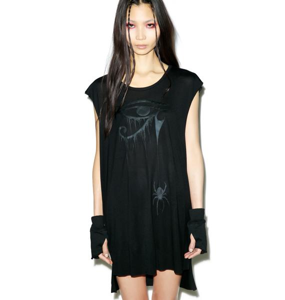 Widow Blackest Black Sheer Jersey Top