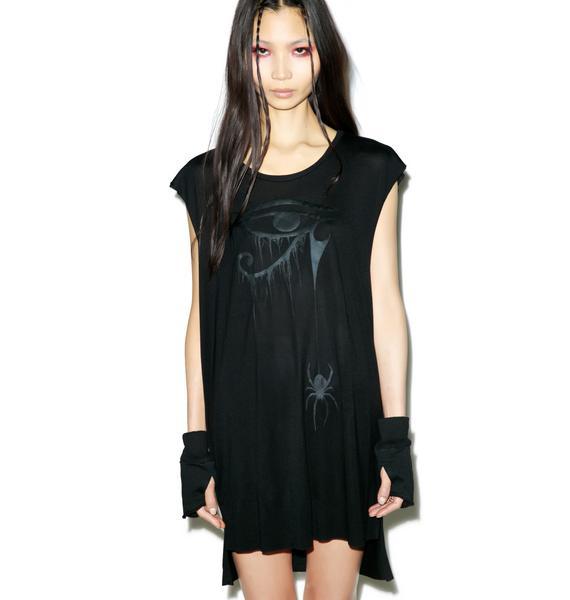 Widow Blackest Black Sheer Jersey Top