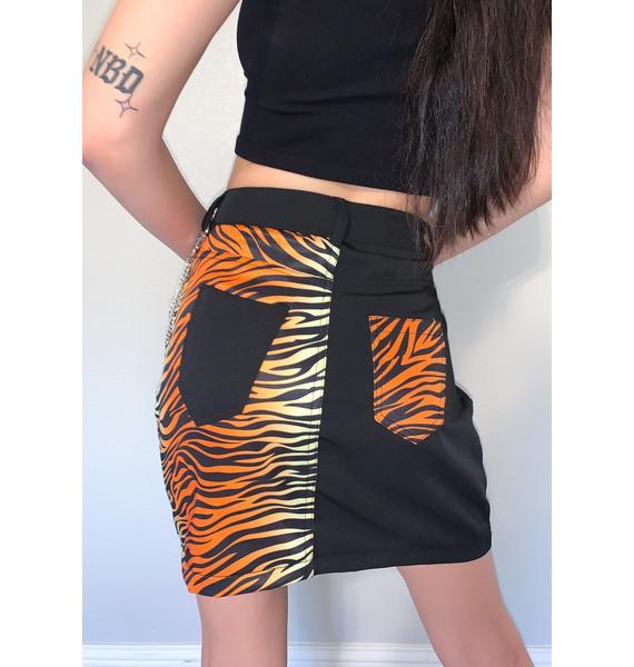 Glitter Disco Child Tiger Print Mini Skirt