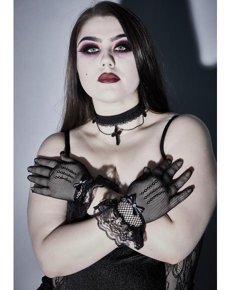 Unholy Enigma Fishnet Gloves