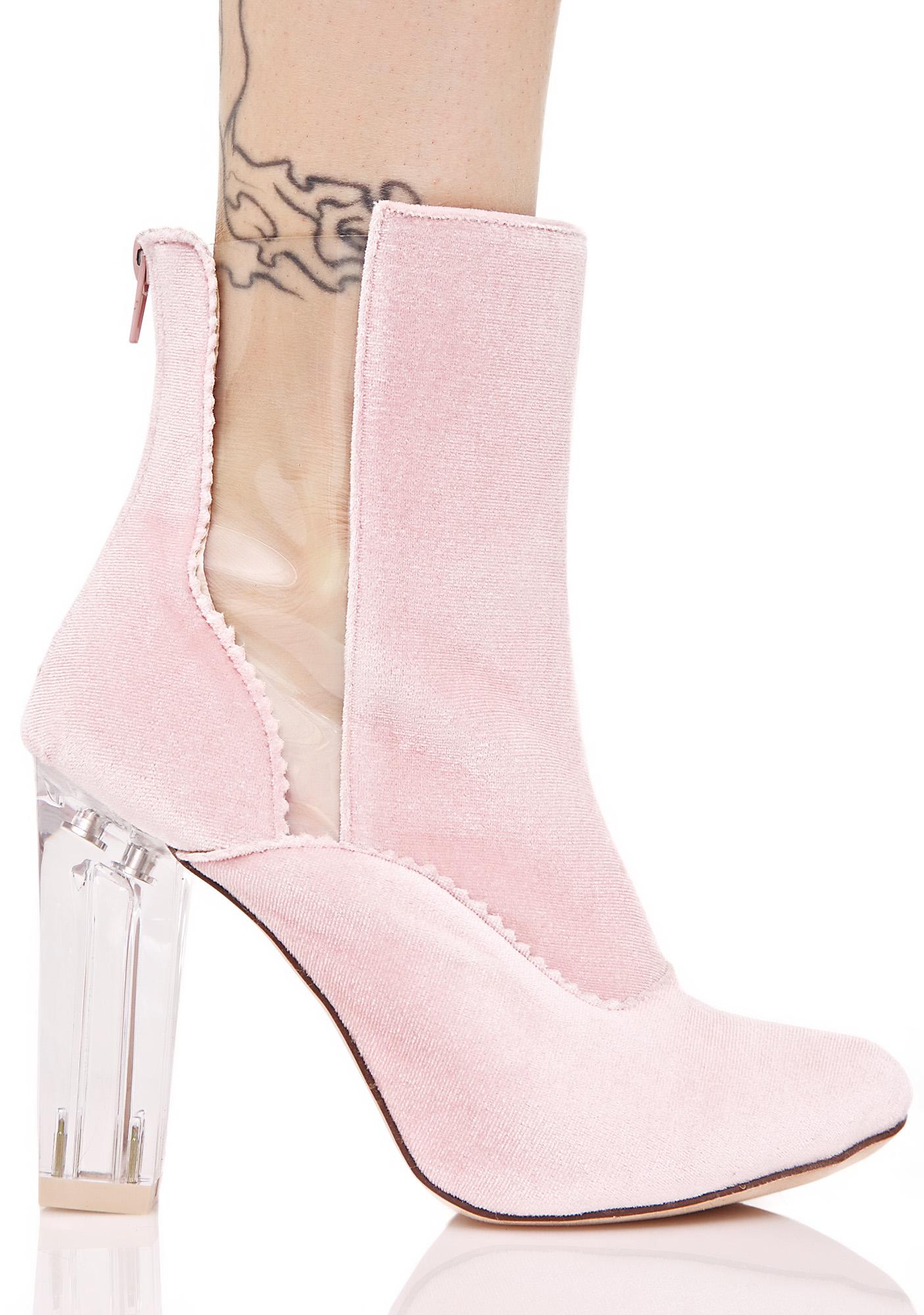 Pink Velvet Transparent Insert Boots