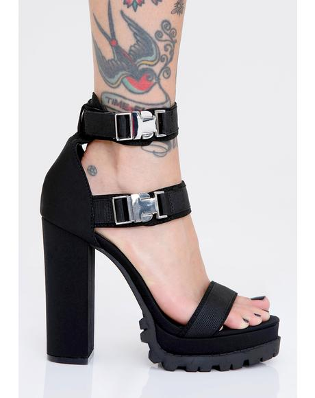 No Luv Allowed Buckle Heels